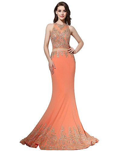 85f6cc181c28 Τρομπέτα   Γοργόνα Illusion Seckline Ουρά Πολυεστέρας Επίσημο Βραδινό Φόρεμα  με Διακοσμητικά Επιράμματα Φούστα με πιασίματα. Συντάκτης φωτογραφιών  Πάροχος