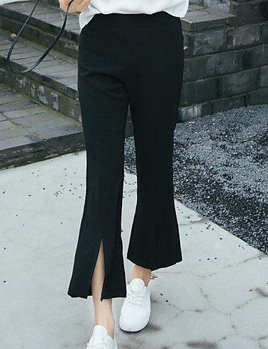 Damen Einfach Hohe Hüfthöhe Dehnbar Chinos Breites Bein Hose Solide