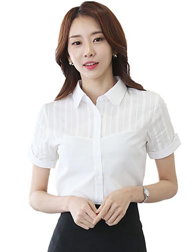 여성 솔리드 패치 워크 셔츠 카라 짧은 소매 셔츠,심플 작동 플러스 사이즈 면 폴리에스테르 스판덱스 여름 얇음