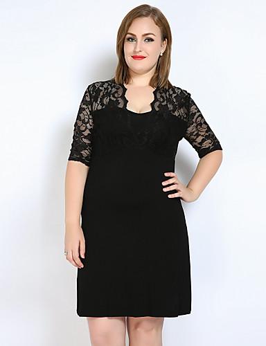 voordelige Grote maten jurken-Dames Grote maten Club Kant / T Shirt / Tuniek Jurk - Effen, Kant V-hals Boven de knie / Sexy