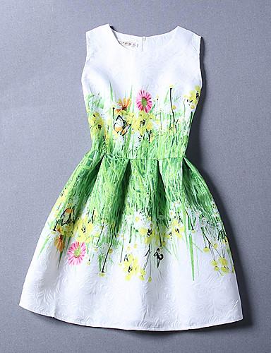 فستان نسائي A line طباعة - قطن طول الركبة مناسب للعطلات / شاطئ