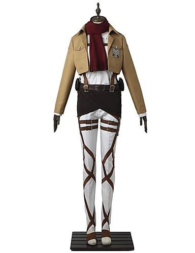 """billige Anime Kostymer-Inspirert av Attack on Titan Mikasa Ackermann Anime  """"Cosplay-kostymer"""" Cosplay Klær Ensfarget Langermet Topp / Bukser / Forkle Til Herre / Dame"""