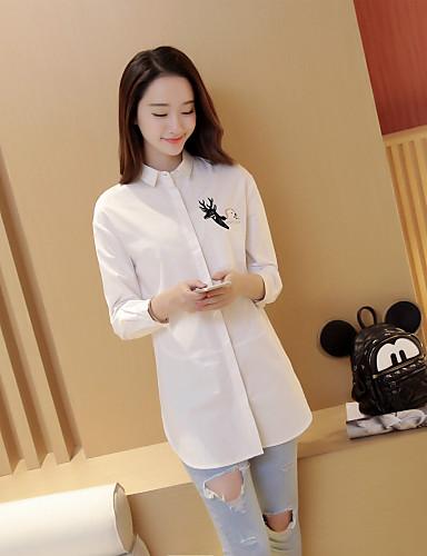 여성 솔리드 셔츠 카라 긴 소매 셔츠,심플 캐쥬얼/데일리 면