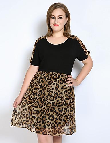 Mulheres Vintage Evasê / Solto / Chifon Vestido Leopardo / Estampa Colorida / Retalhos Altura dos Joelhos
