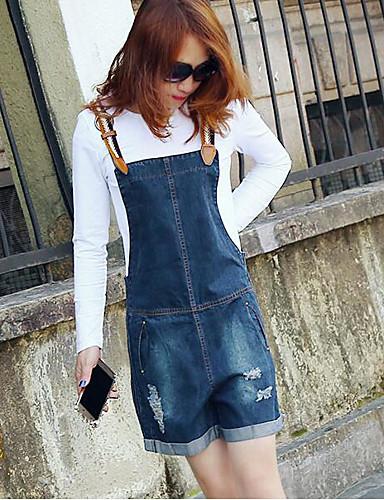 Dámské Jednoduchý Není elastické Montérky Kalhoty Rovné High Rise Jednobarevné