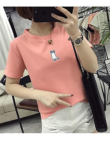 여성용 솔리드 티셔츠 폴리에스테르