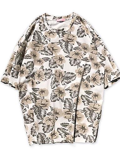 남성 프린트 라운드 넥 짧은 소매 티셔츠,심플 데이트 캐쥬얼/데일리 면 봄 여름 얇음
