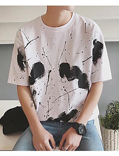 남성 프린트 라운드 넥 짧은 소매 티셔츠,심플 캐쥬얼/데일리 면 봄 여름 얇음