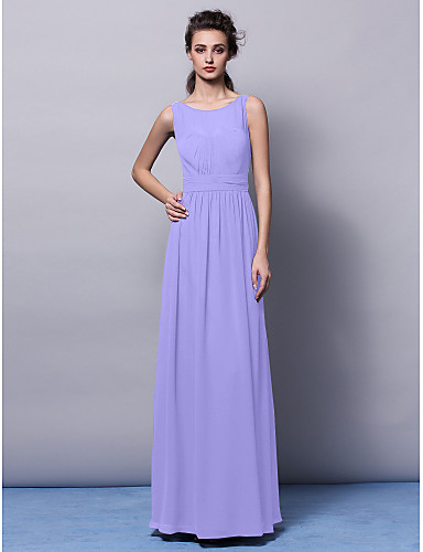 cheap Bridesmaid Dresses-Sheath / Column Jewel Neck Floor Length Chiffon Bridesmaid Dress with Draping / Sash / Ribbon / Ruched by LAN TING BRIDE® / Open Back