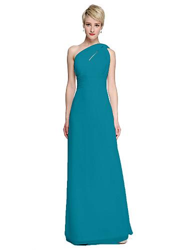 59c36865d6cd Sheath / Column One Shoulder Floor Length Chiffon Bridesmaid Dress with Sash  / Ribbon / Side Draping / Ruched by LAN TING BRIDE®