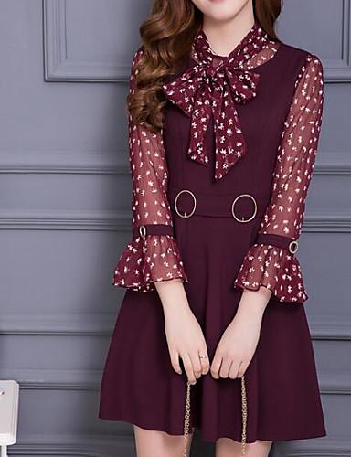 여성 칼집 드레스 캐쥬얼/데일리 심플 플로럴,크루넥 미디 긴 소매 면 봄 여름 높은 밑위 약간의 신축성 얇음