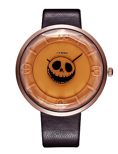SINOBI 여성용 석영 손목 시계 일본어 방수 충격 방지 PU 밴드 캐쥬얼 스컬 독창적 인 창조적 인 시계 패션 멋진 블랙 브라운