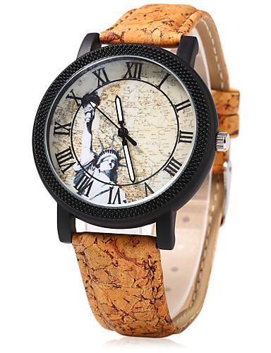 여성용 시계 나무 드레스 시계 패션 시계 중국어 석영 나무 밴드 빈티지 창조적 카툰 베이지