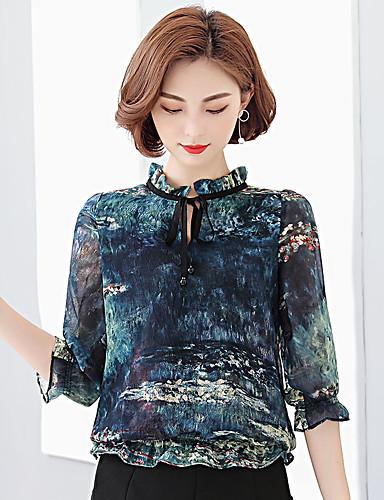 여성 프린트 스탠드 ½ 길이 소매 블라우스,심플 캐쥬얼/데일리 폴리에스테르 얇음
