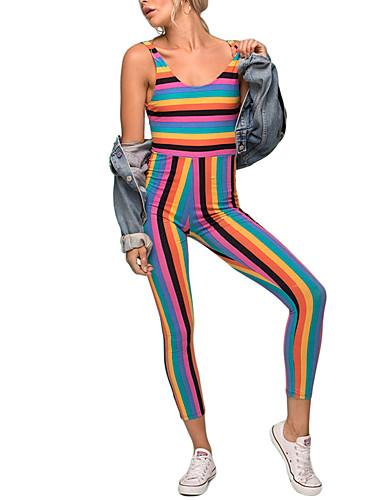 여성용 점프 수트 - 줄무늬, 뒷면이 없는 스타일 휴일 섹시 높은 밑위