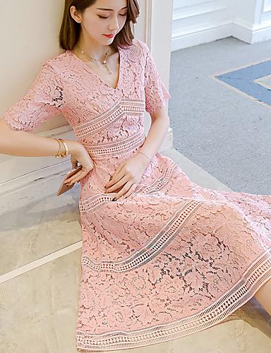 여성용 데이트 캐쥬얼 레이스 드레스 - 솔리드 높은 밑위 미디 V 넥 / 여름