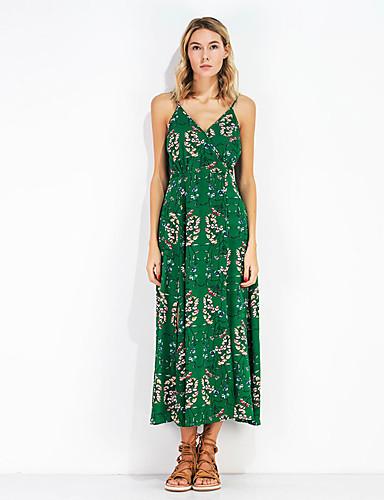 Mulheres Bainha Chifon Vestido - Estampado, Floral Decote V Cintura Alta