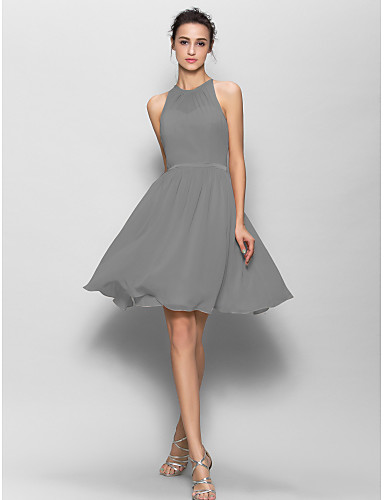 52a167c9ed7d9 A-Line Jewel Neck Knee Length Georgette Bridesmaid Dress with Sash   Ribbon    Pleats by LAN TING BRIDE®