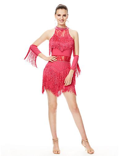 af902decdf62 Latin Dance Dresses Women s Performance Spandex Tassel   Crystals    Rhinestones Sleeveless High Dress   Gloves
