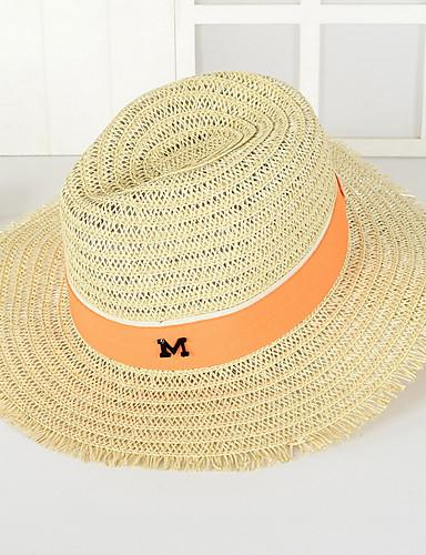 Универсальные Винтаж Очаровательный Для вечеринки Для офиса На каждый день Соломенная шляпа Шляпа от солнца Однотонный
