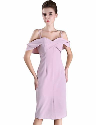 여성 바디콘 칼집 드레스 파티 데이트 섹시 귀여운 솔리드,스트랩 무릎길이 민소매 폴리에스테르 사계절 중간 밑위 약간의 신축성 중간