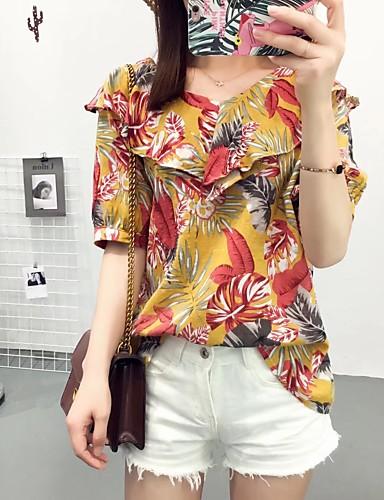 Damen Blumen Einfach Sexy Street Schick Ausgehen Lässig/Alltäglich T-shirt,V-Ausschnitt Sommer Kurzarm Baumwolle Dünn Mittel