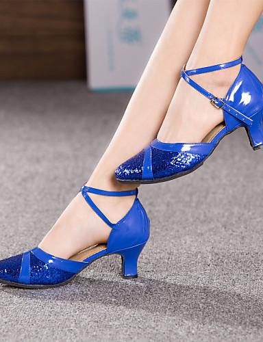 povoljno Cipele za ples-Žene Plesne cipele Moderna obuća Isprepleteni dijelovi Štikle Potpetica po mjeri Moguće personalizirati Crvena / Plava / Pink / Unutrašnji / EU39