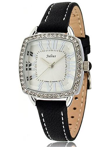 Damen Modeuhr Armband-Uhr Quartz Wasserdicht Leder Band Glanz Freizeit Schwarz Weiß Orange Braun Rose