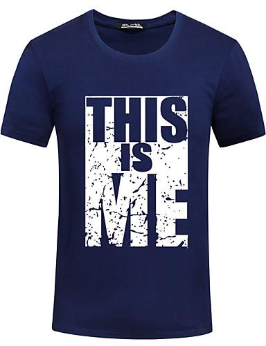 Herren Druck Einfach Aktiv T-shirt,Rundhalsausschnitt Sommer Kurzarm Baumwolle Dünn