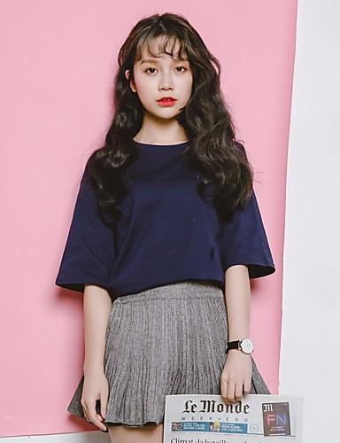 Damen Solide Niedlich T-shirt,Rundhalsausschnitt Kurzarm Polyester