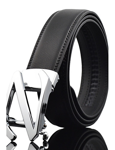 Men's Party Work Leather Alloy Waist Belt - Solid Colored