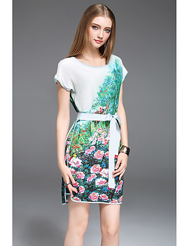 Damen Lose Kleid-Lässig/Alltäglich Druck Rundhalsausschnitt Übers Knie Kurzarm Seide Sommer Tiefe Hüfthöhe Mikro-elastisch Mittel