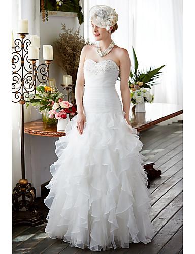 A-Linie Sweetheart Boden-Länge Organza Benutzerdefinierte Brautkleider mit Perlenstickerei Gerafft durch LAN TING BRIDE®