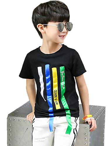 Jungen T-Shirt Einheitliche Farbe Streifen Baumwolle Sommer Ganzjährig Kurzarm Normal