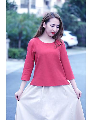 Damen Solide Einfach Lässig/Alltäglich Hemd,Rundhalsausschnitt ¾-Arm Baumwolle Leinen
