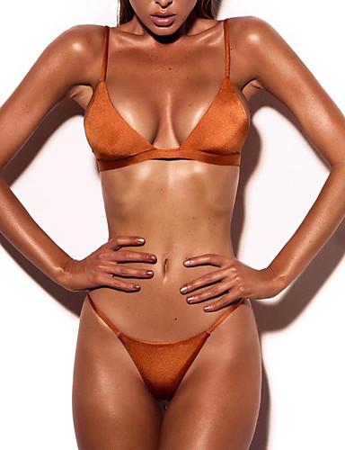 billige Kvinde Toppe-Dame Solid dyb halsudskæring Grime Lyserød Grå Gul Bikini Badetøj - Ensfarvet S M L Lyserød / Super Sexy