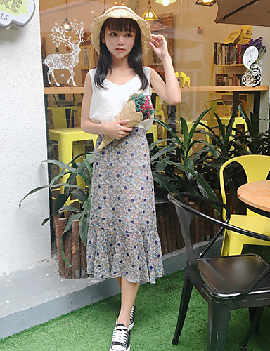 Damen Einfach Lässig/Alltäglich Maxi RöckeReine Farbe Druck Sommer