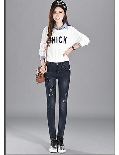 Damen Einfach Mittlere Hüfthöhe Mikro-elastisch Jeans Skinny Hose einfarbig