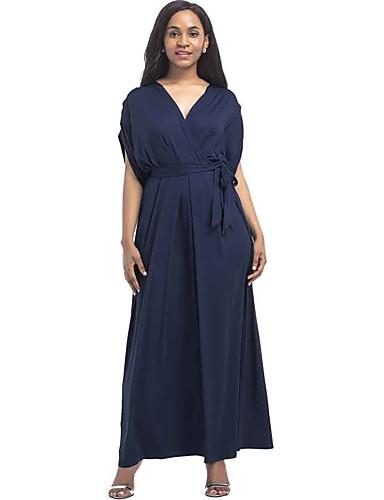 2040f0a5aa3 Women s Plus Size Daily Street chic Maxi Loose Dress - Solid Colored V Neck  Summer Wine Khaki Royal Blue XL XXL XXXL