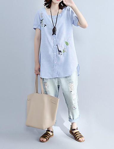 Dámské Jednobarevné Běžné/Denní Jednoduché Košile-Léto Polyester Kulatý Krátký rukáv