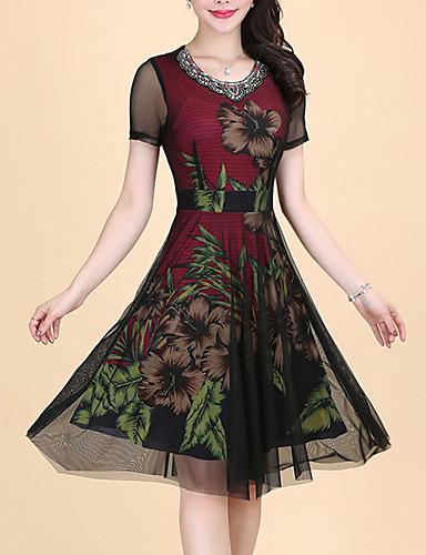 Damen Hülle Kleid-Ausgehen Übergröße Street Schick Druck Rundhalsausschnitt Knielang Kurzarm Polyester Sommer Mittlere Hüfthöhe