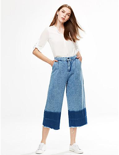 Dame Afslappet Mikroelastisk Jeans Bukser Bomuld Farveblok Sommer Efterår