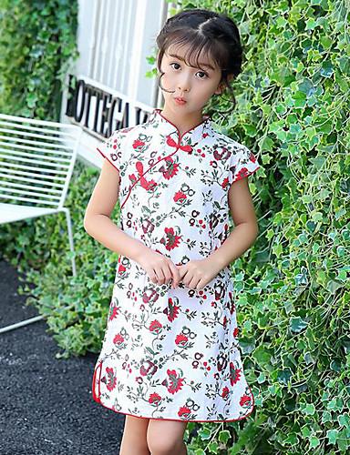 Dívka je Bavlna Květinový Léto Šaty,Krátký rukáv