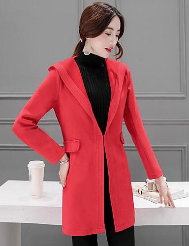 Damen Solide Einfach Lässig/Alltäglich Trench Coat,Mit Kapuze Herbst Lange Ärmel Lang Baumwolle