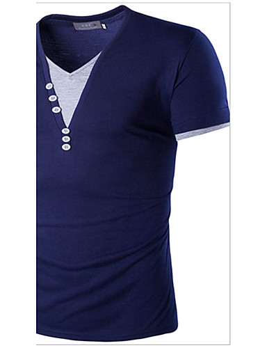 Homens Camiseta Estampa Colorida Algodão Decote V