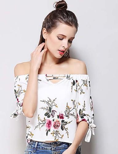 Damen Druck Einfach T-shirt,Bateau Kurzarm Seide Baumwolle