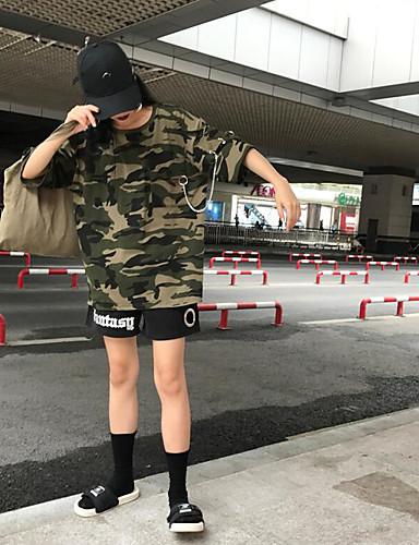 Damen camuflaje Einfach Lässig/Alltäglich T-shirt,Rundhalsausschnitt Kurzarm Baumwolle
