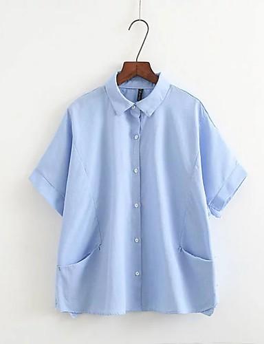 Dámské - Jednobarevné Jdeme ven Šik ven Košile Bavlna Košilový límec