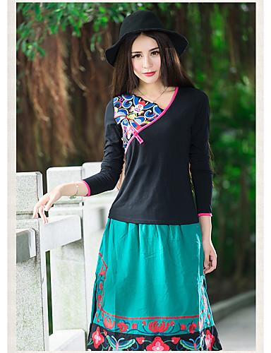Damen Solide Einfach Lässig/Alltäglich Hemd,V-Ausschnitt Herbst Langarm Baumwolle Dünn