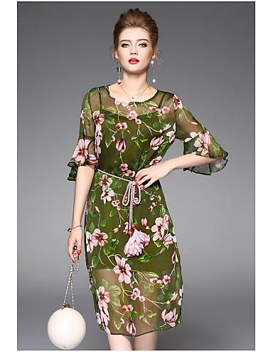 Damen Hülle Kleid-Lässig/Alltäglich Blumen Rundhalsausschnitt Übers Knie Polyester Sommer Hohe Hüfthöhe Mikro-elastisch Dünn
